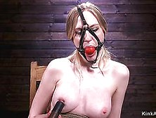Gagged And Blindfolded Sub On Hogtie