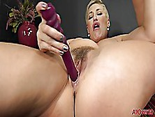 Short Haired Blonde Woman With Big Boobs,  Ryan Keely Is Masturbating With A New Sex Toy