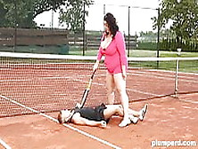 Obese Woman Facesits On Her Trainer At The Tennis Court