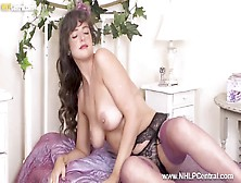 Busty British Milf Kate Anne Wanks On Bed In Sexy Nylons And High Heels After Striptease