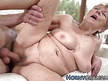 Granny With Huge Tits Gargles On Spunk