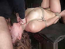 Bonded Squirter Throated By Threeway Maledoms