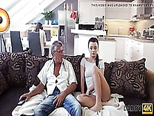 Small Titted Brunette Likes To Let Her Step- Father Fuck Her,  On