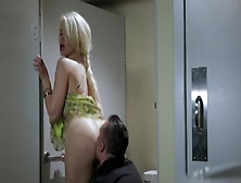 Cheating Blonde Is Fucking In The Restaurant Toilet
