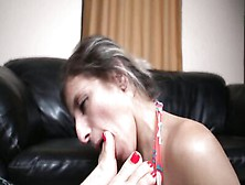 Submissive Milf Is Licking Dominant Girl's Sexy Feet And Toes