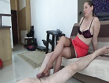 Dominant Milf In Nylon Stockings Lady Cruella Tortures Her Slave