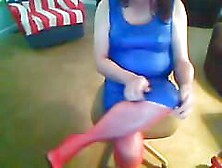 Blue Shiny Dress,  Red Nylons,  And Red High Heels Tease!